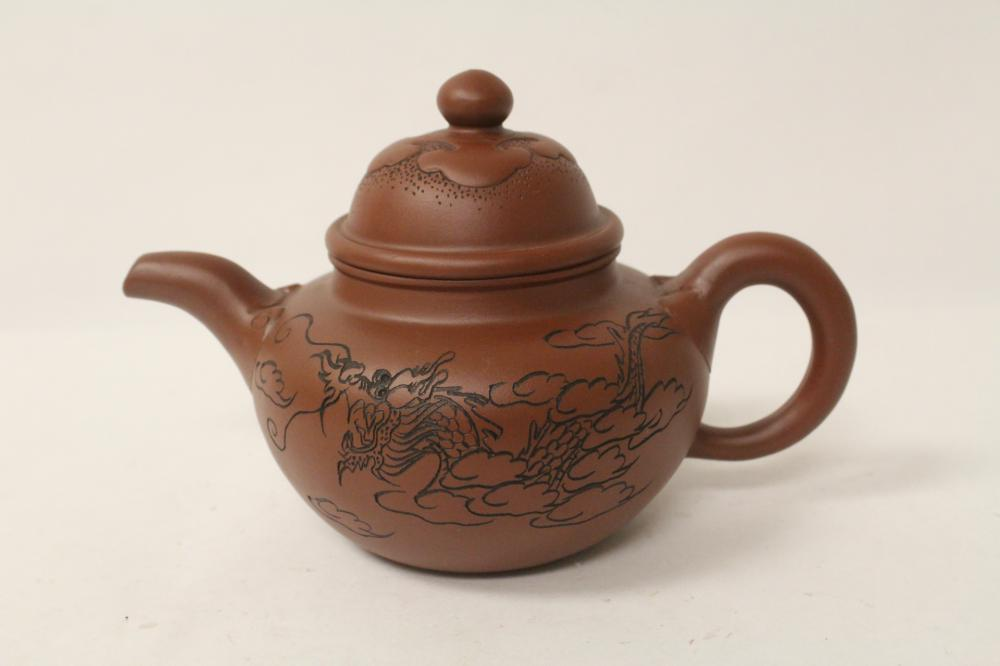Chinese Yixing teapot incised with dragon