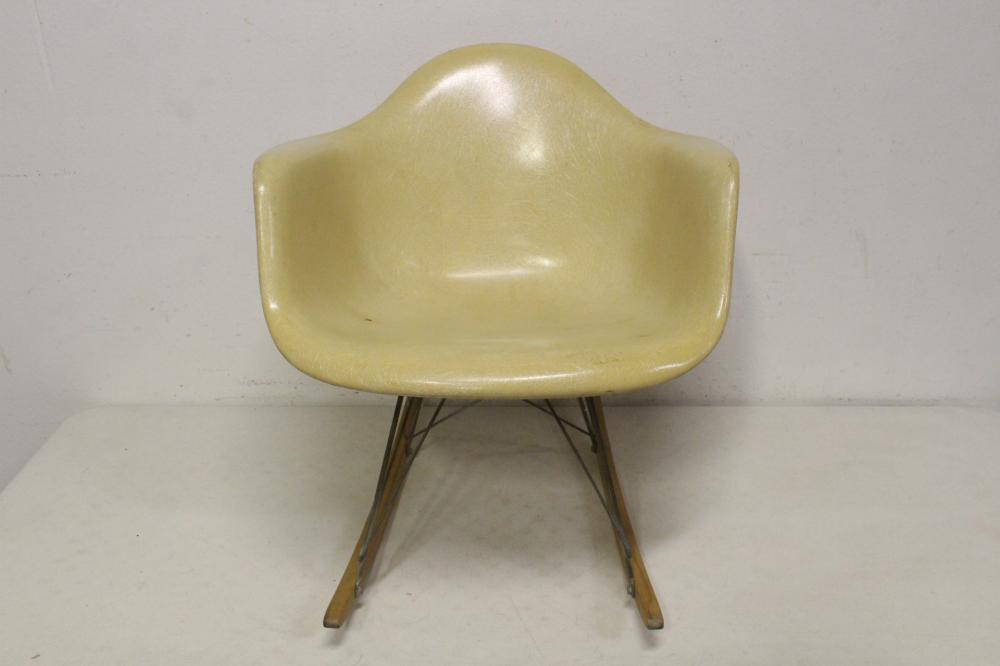 Early Eames fiberglass rocker for Herman Miller