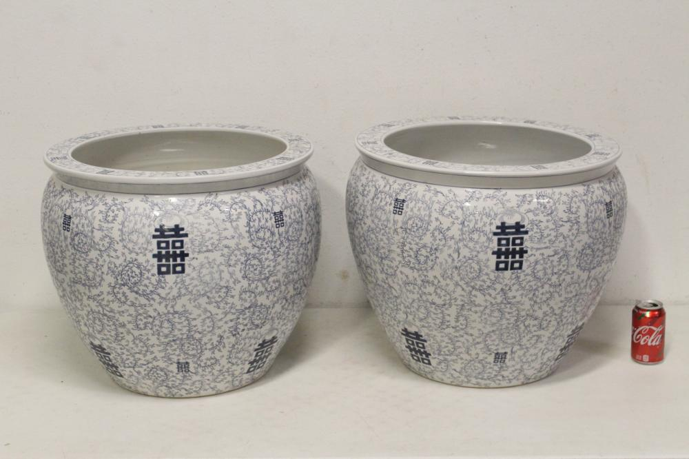 Pair large Chinese b&w porcelain planters