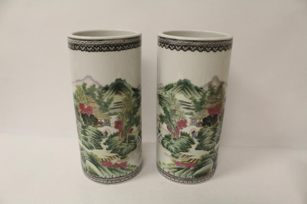 Pair vintage Chinese famille rose hat vases