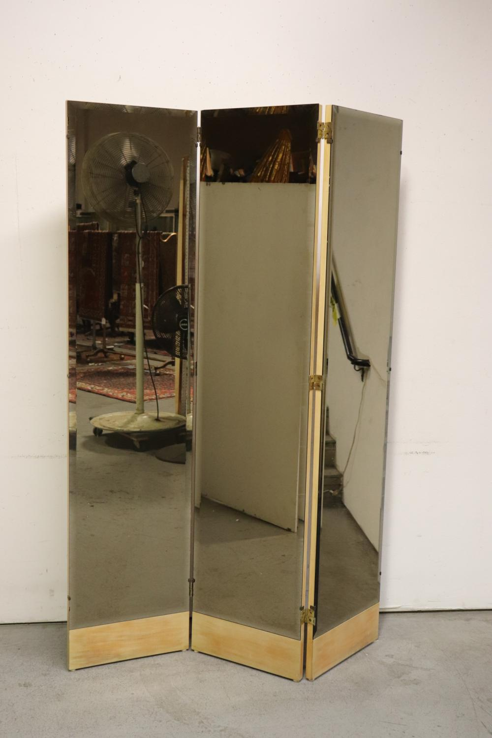 3-panel tinted beveled glass mirror room divider