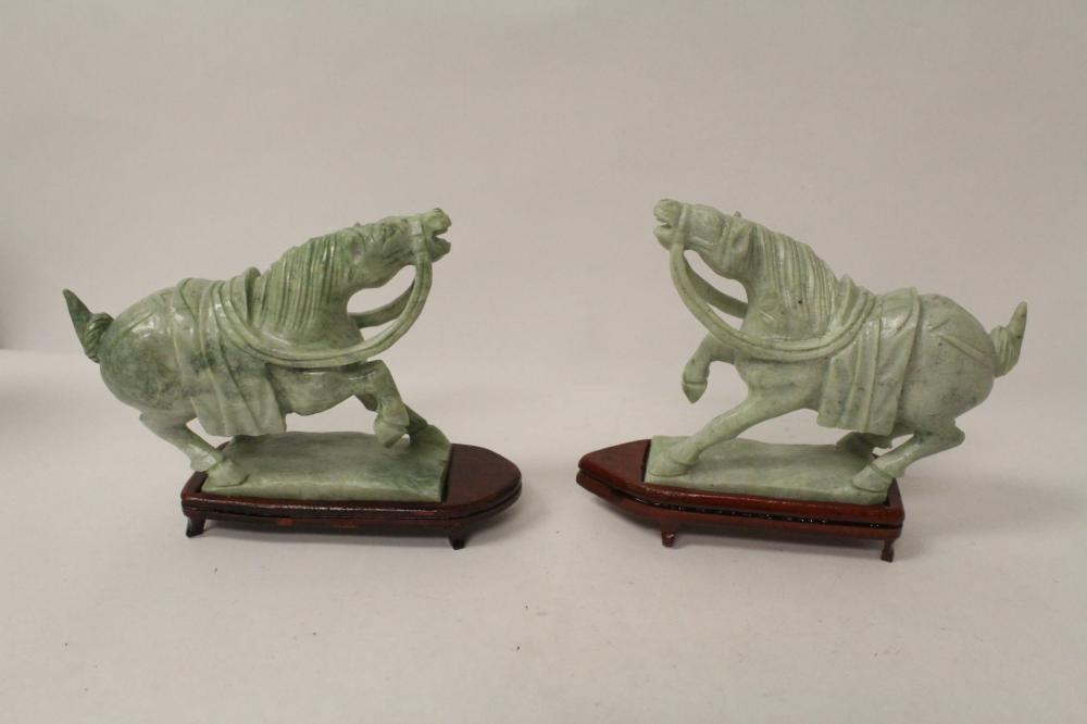 Pair Chinese jade like stone carved horses