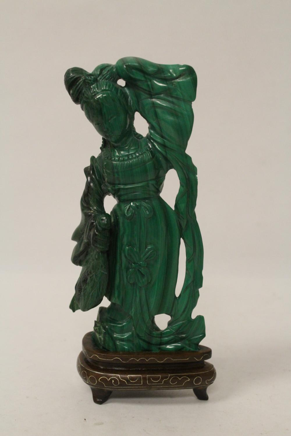 Fine Chinese malachite carved court lady
