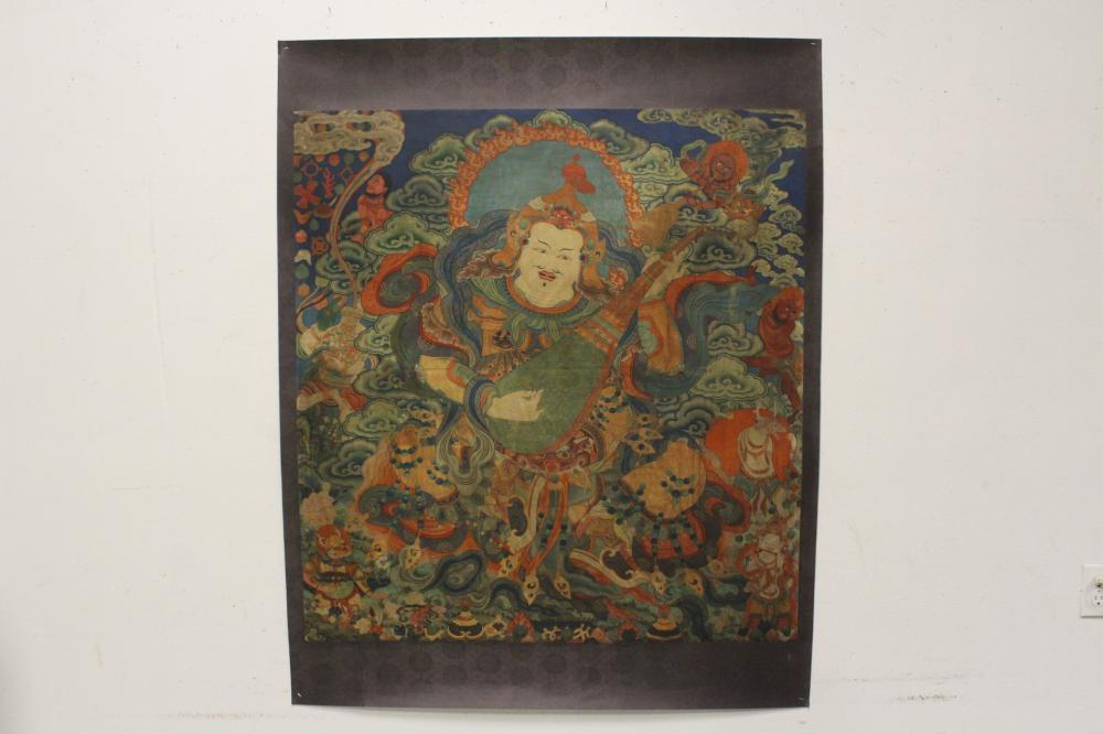 Vintage thangka pasted on board