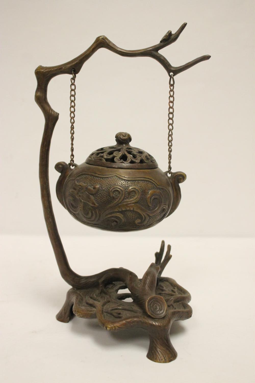 Unusual Chinese bronze hanging censer