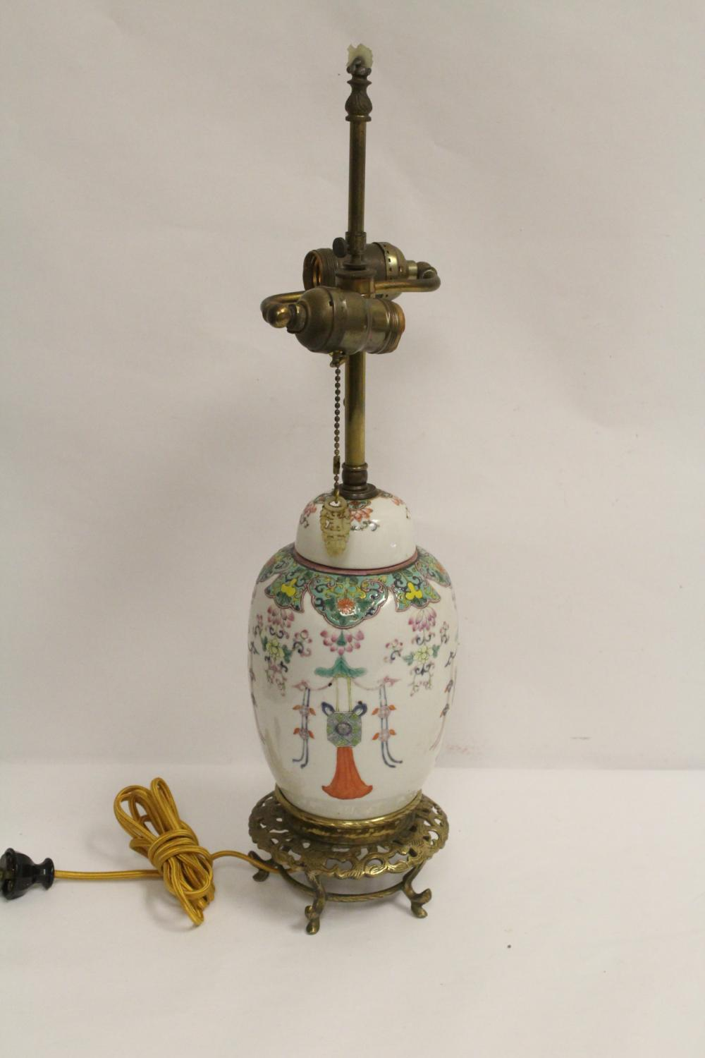 Chinese famille rose covered jar, made as lamp