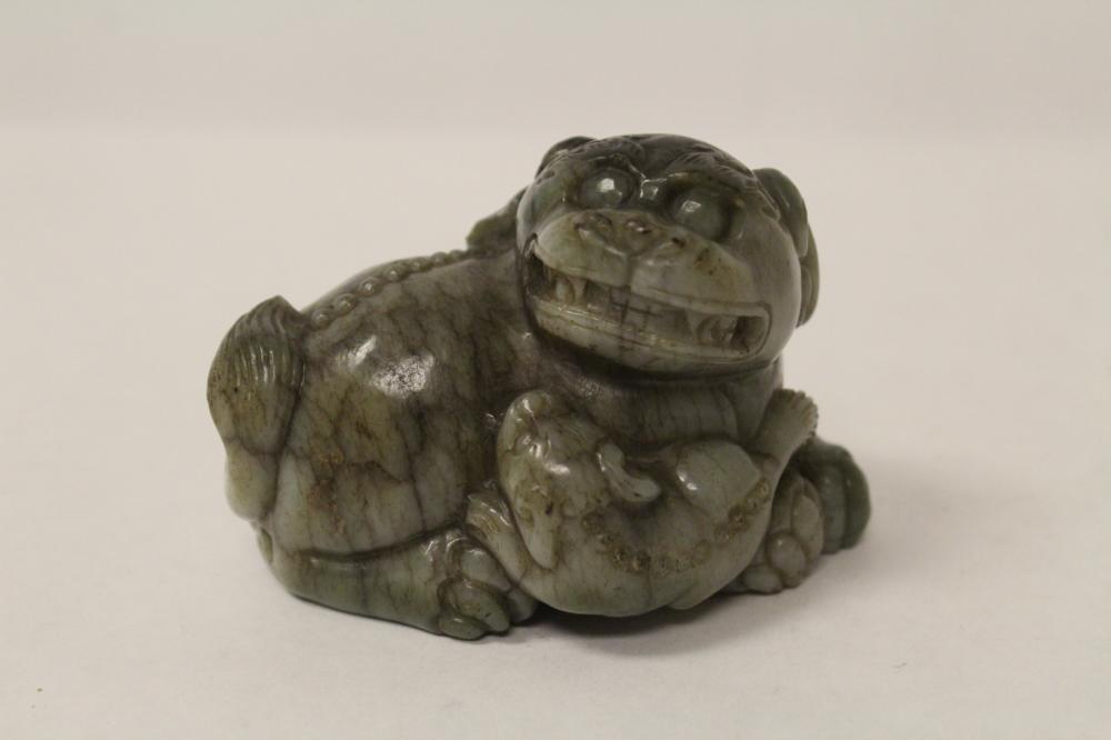 Fine Chinese grey jade carved qilin