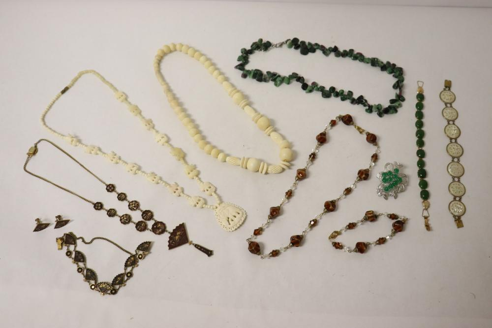 Lot of Asian costume jewelry pieces