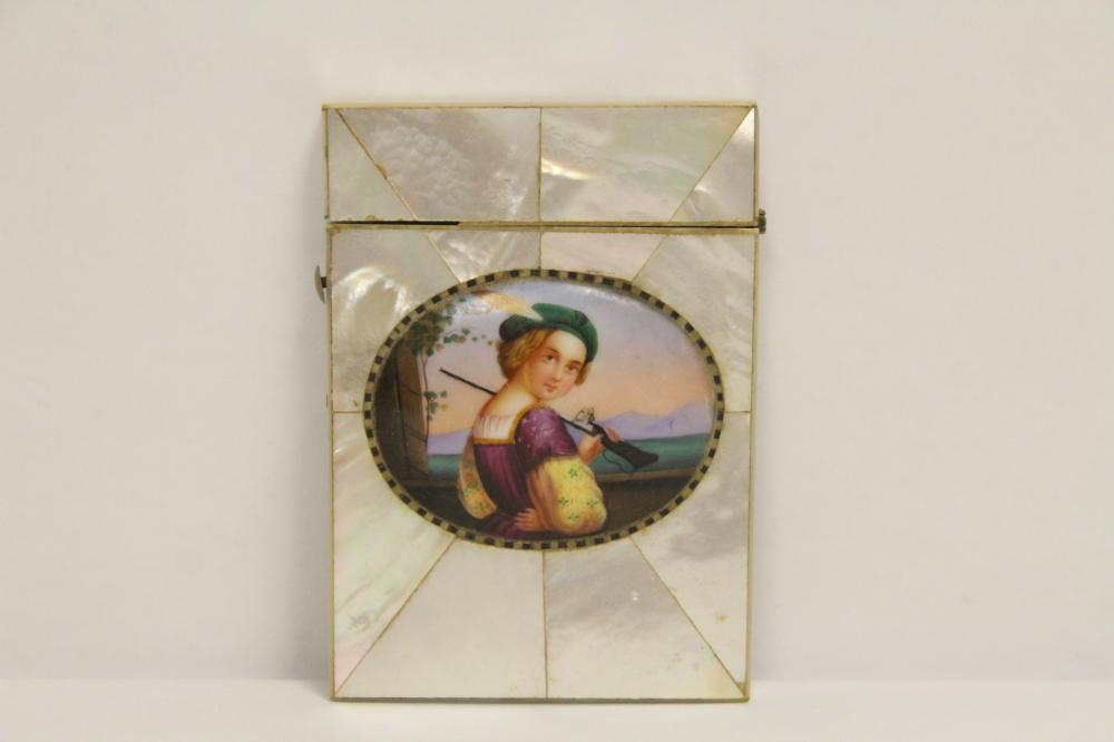 Victorian card box w/ MOP overlay & a painted plaque