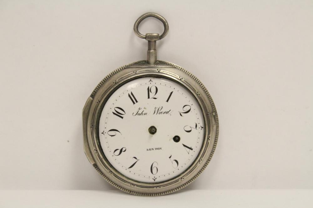 18th c. pocket watch w/ sterling case by John Ward