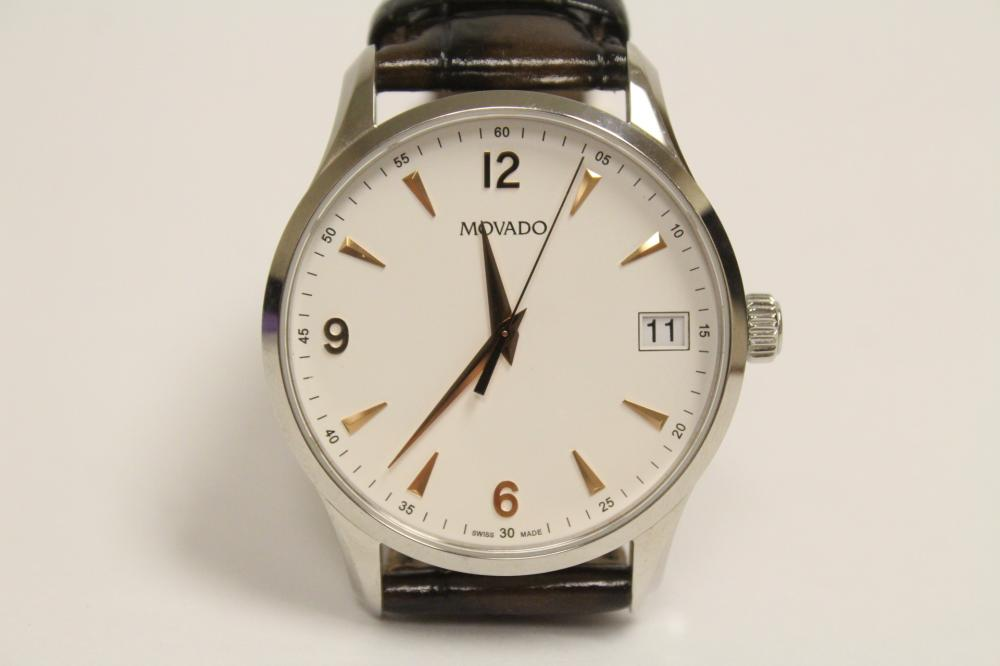 Movado large face wrist watch w/ original leather band
