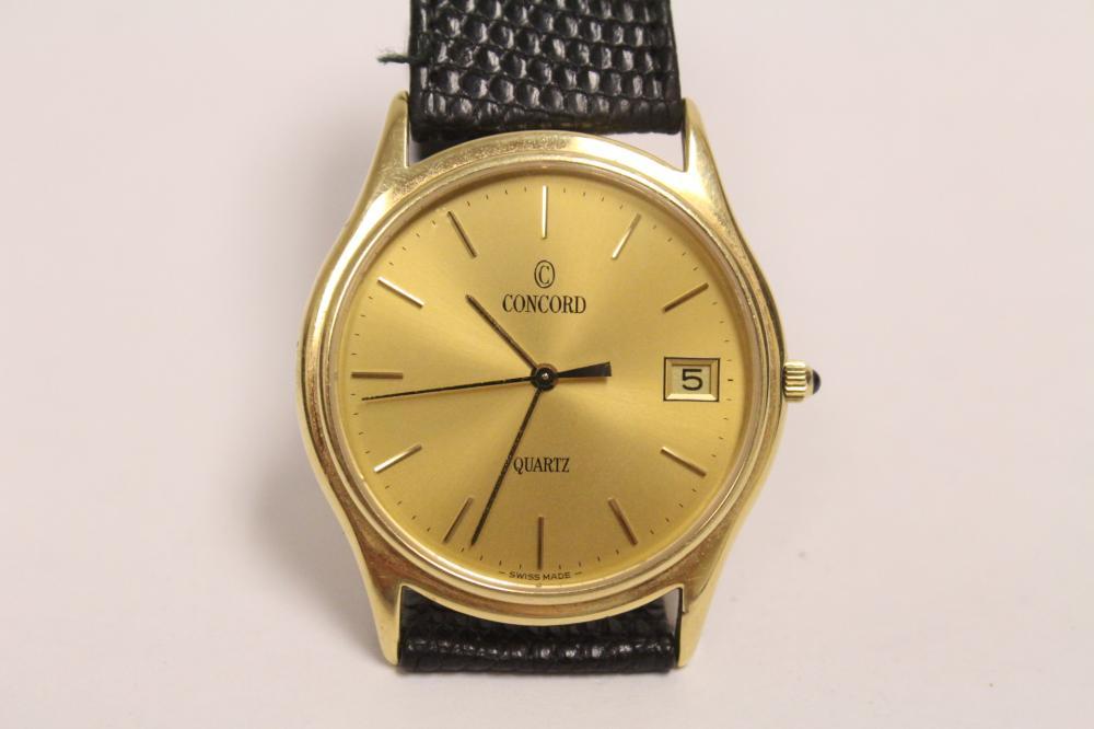 14K gold concord wrist watch w/ original leather band