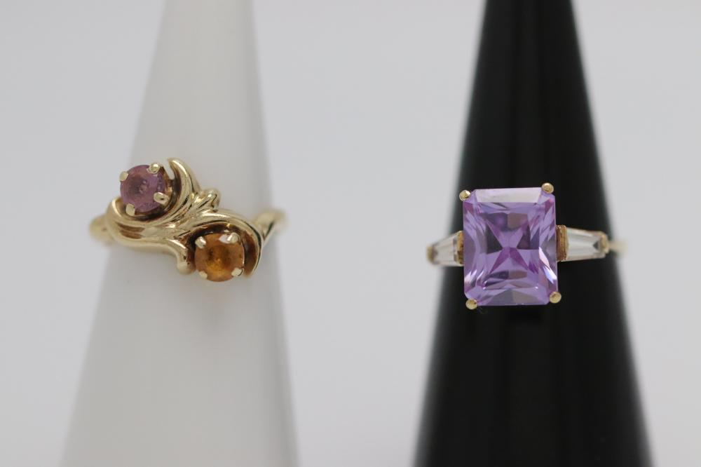 Two 10-14K Y/G rings set with color stones