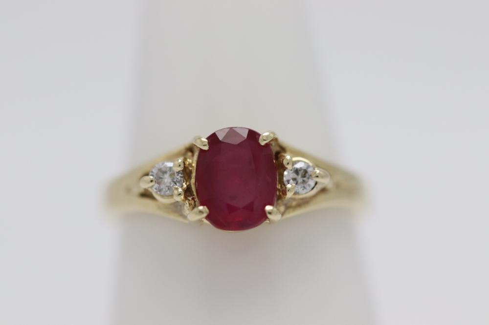 14K Y/G ruby diamond ring