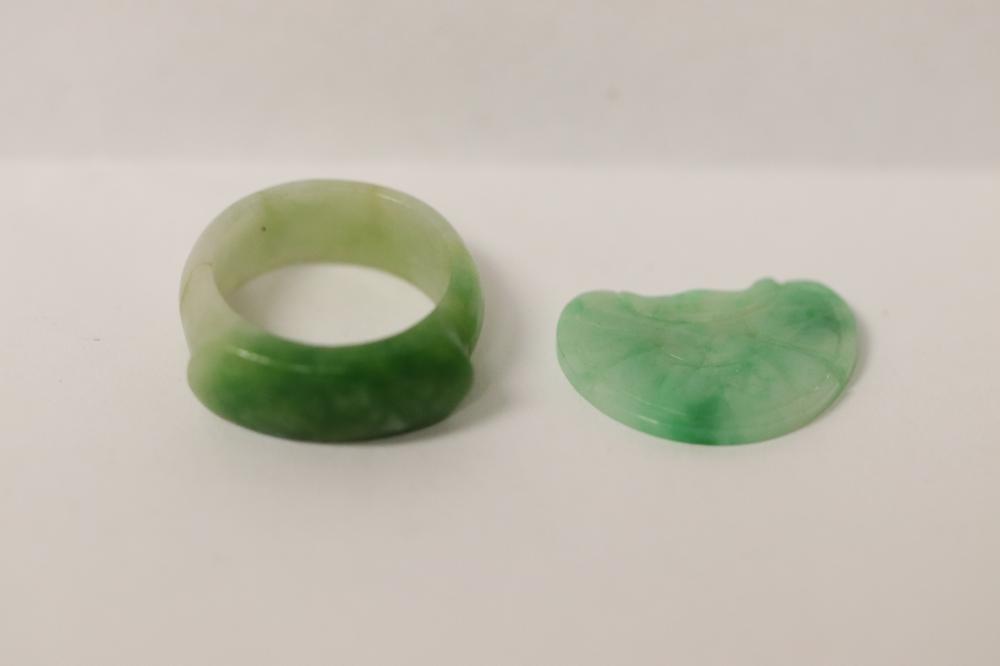 Antique jadeite pendant, & a vintage jadeite bangle ring