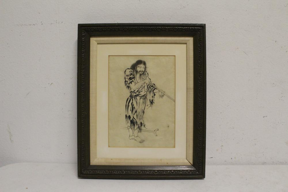 Chinese watercolor painting depicting deity