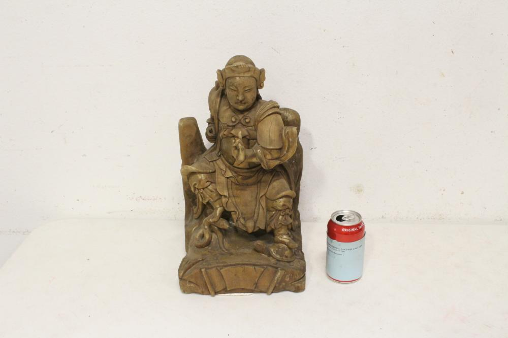 A fine Chinese antique wood carved deity