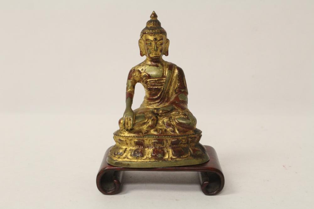 Antique Chinese gilt bronze sculpture of deity