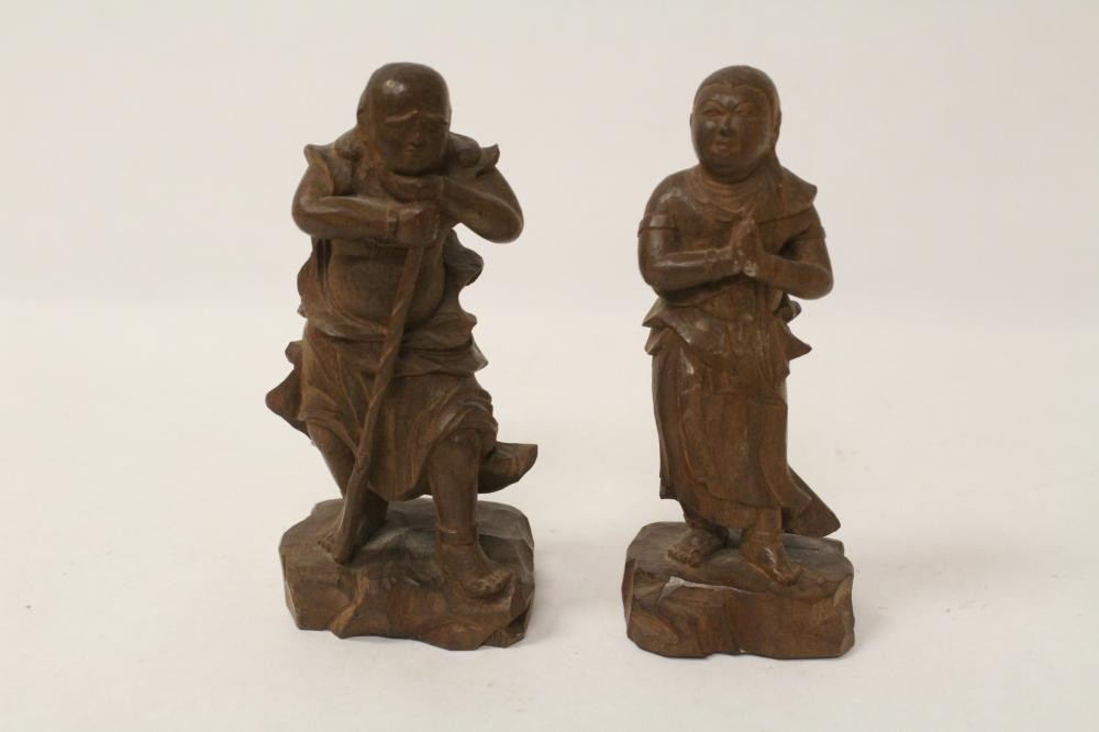 Pair Chinese antique wood carved deities