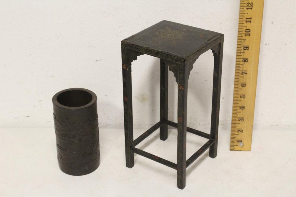 bamboo brush holder & painted lacquer pedestal stand