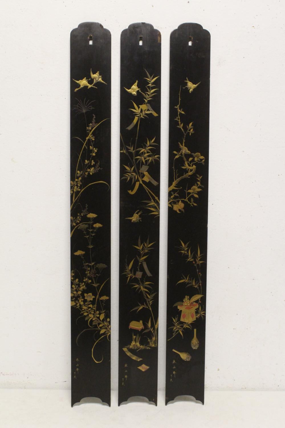 3 Japanese antique lacquer panels, signed