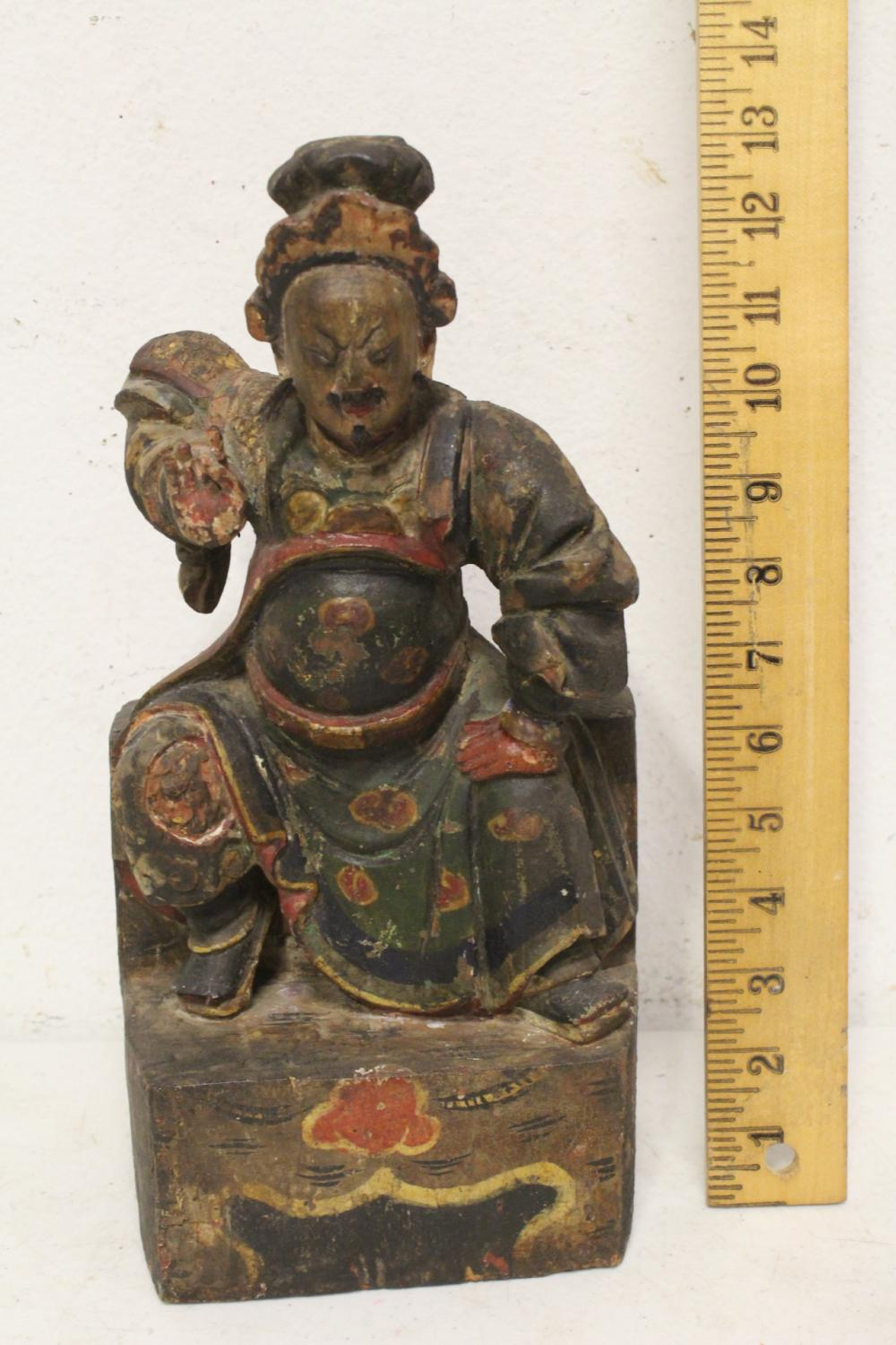 Chinese 19th century carved and painted deity