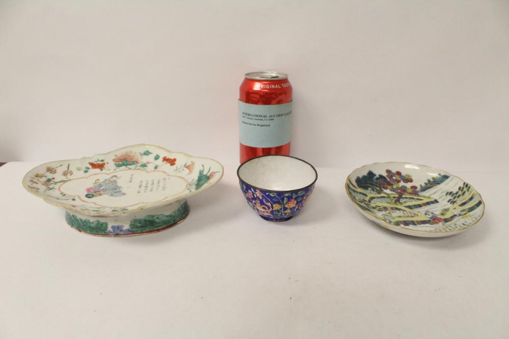2 antique porcelain plates & an enamel on copper cup