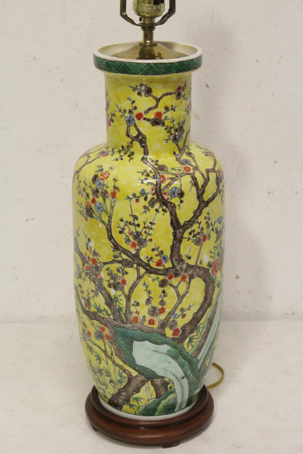 Chinese antique famille rose vase, made as lamp
