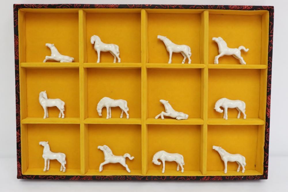 12 Chinese vintage porcelain miniature horses