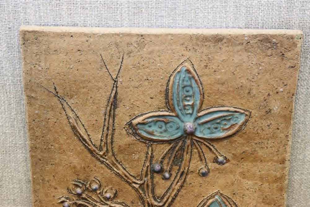 3 glazed pottery tile art by Victoria LittleJohn