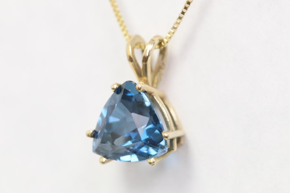10K Y/G topaz pendant w/ 14K Y/G necklace