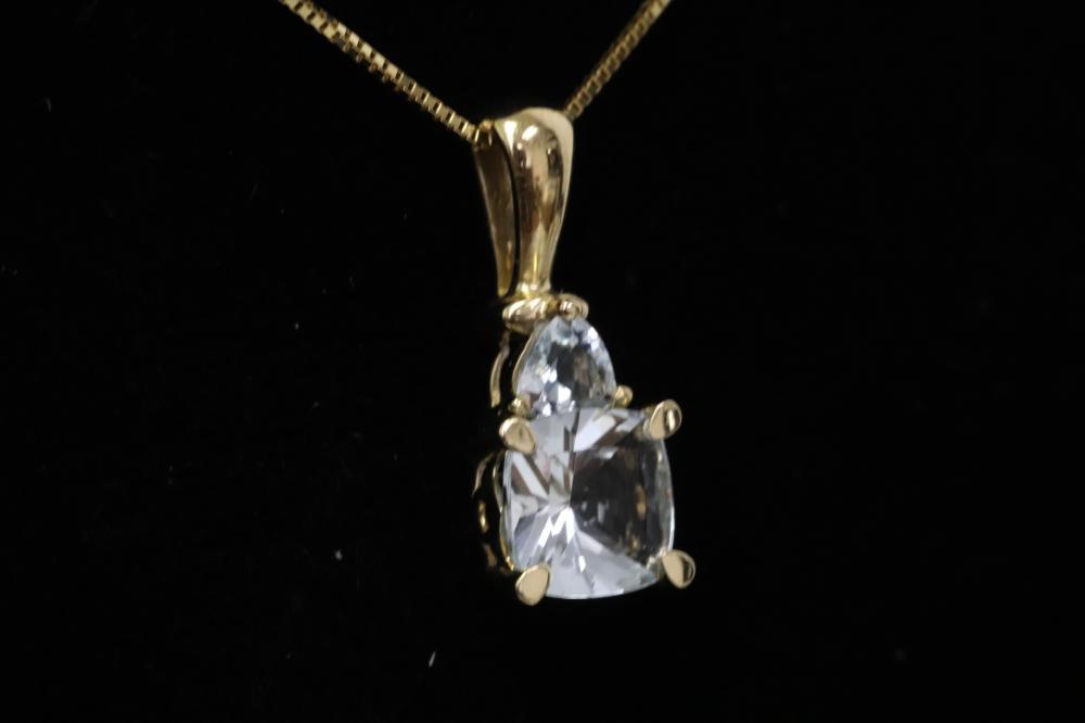 10K pendant w/ possible tourmaline & 14K necklace