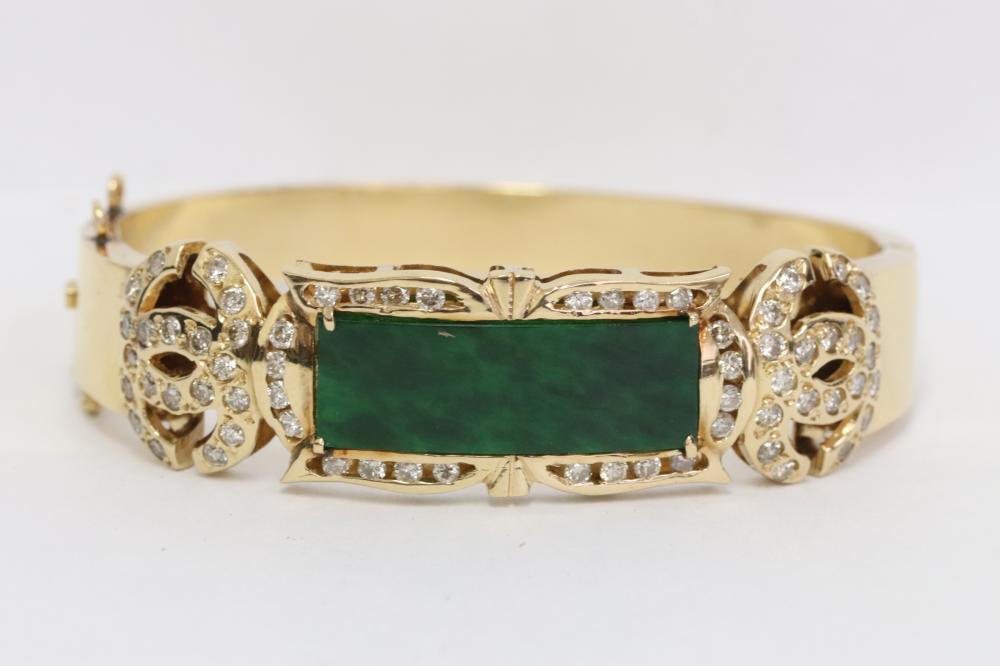 18K bracelet w/ natural color jade & diamonds