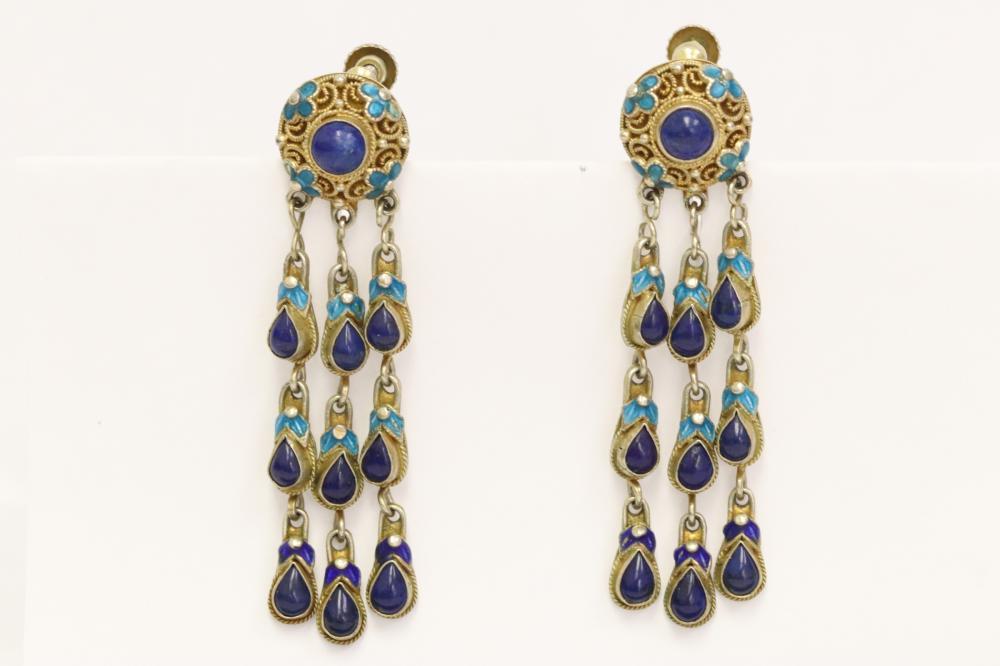 Pr Chinese antique enamel silver earrings w/ lapis