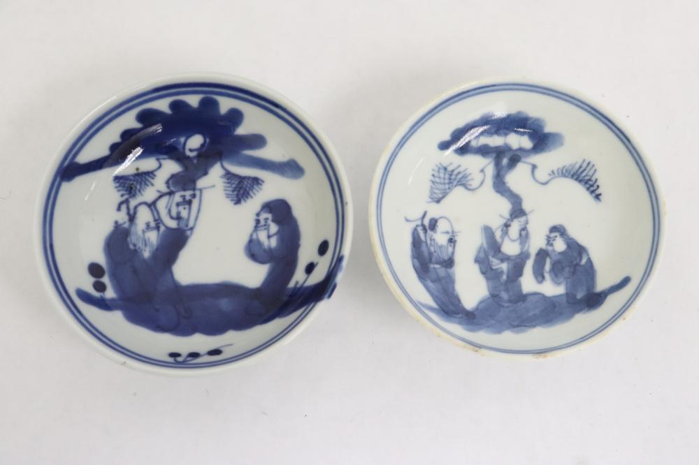 10 Chinese antique b&w porcelain sauce dishes