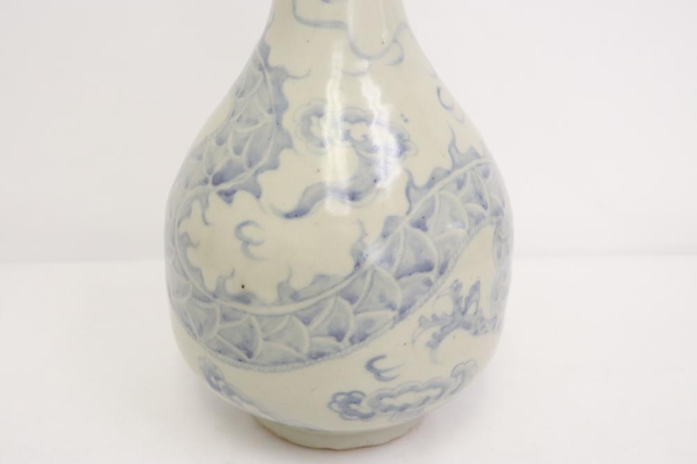 A vintage Korean blue and white porcelain vase