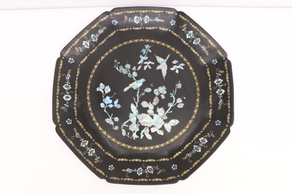 2 large lacquer trays with mother of pearl inlaid