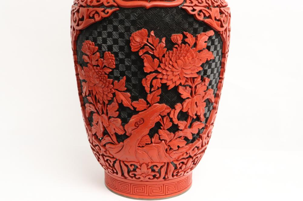2 Chinese cinnabar vases