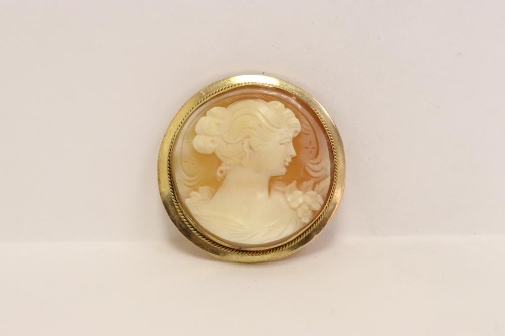Victorian 14K rose gold framed shell cameo