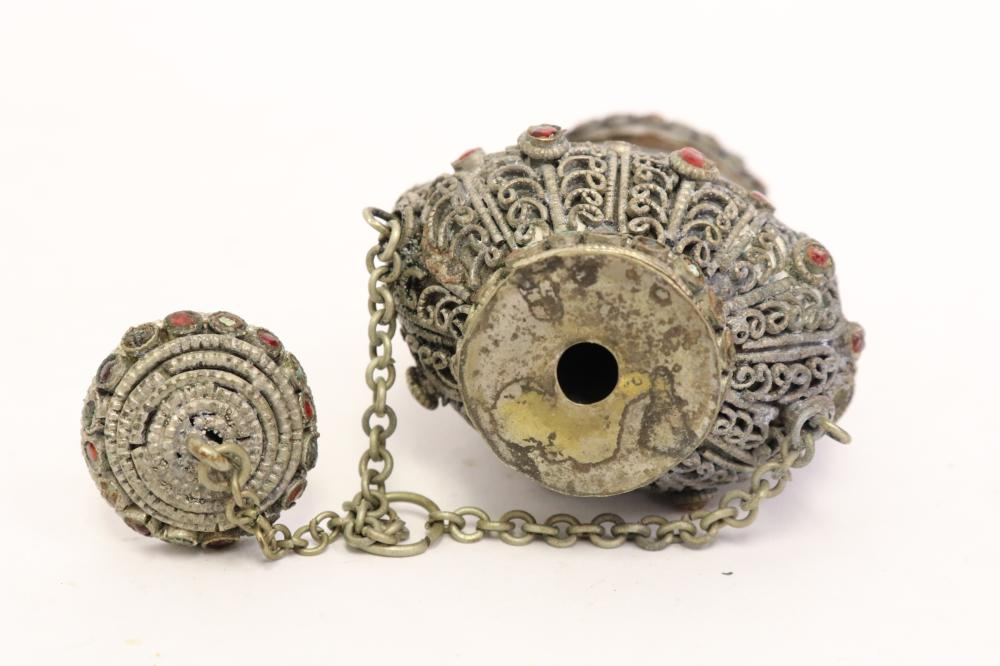 3 Chinese snuff bottles with metal overlay w/ jewel