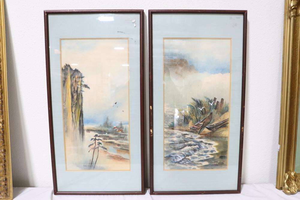 "2 framed watercolor ""rural scene"" by Dickens Chang"