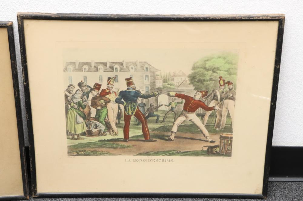 2 antique French etching depicting fighting scene