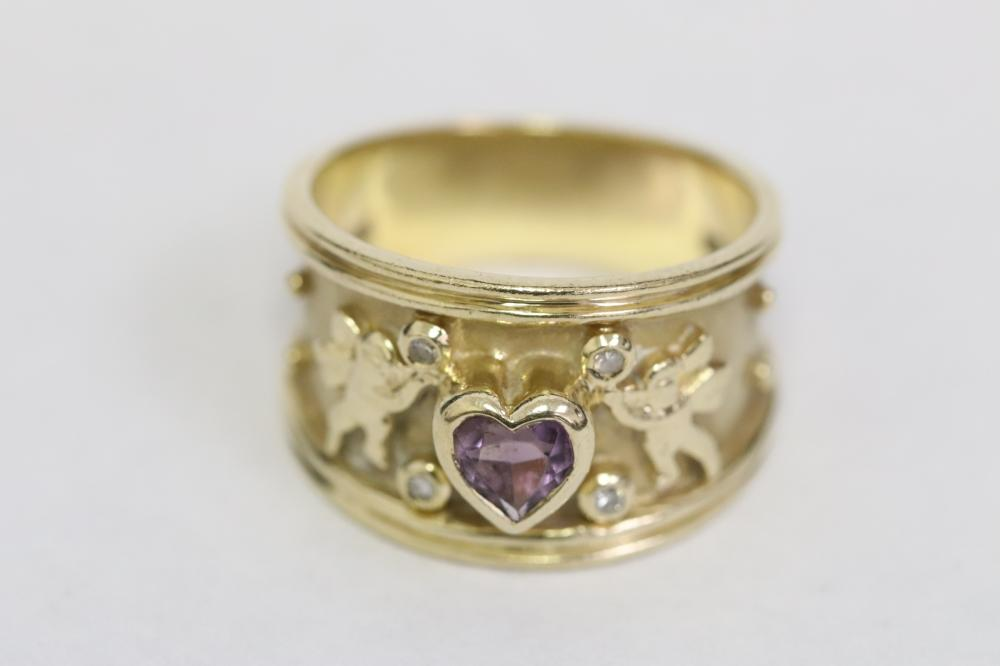 14K band ring with amethyst & diamonds