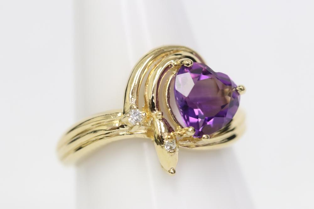 14K ring set w/ amethyst and diamonds