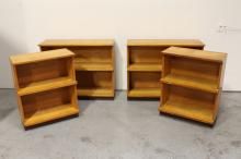 Set of 4 modern style blonde wood bookcases
