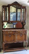 19th c. French walnut marble top china cabinet