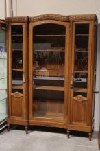 19th c. French walnut 3-door display case