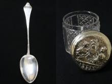 A Danish sterling spoon, and a sterling top box