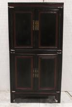 Chinese 19th c. painted wood 2-section cabinet