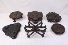 6 Chinese large hand carved stand (minor chips)